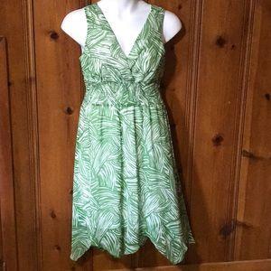 Sleeveless Green and White Dress, Size 12